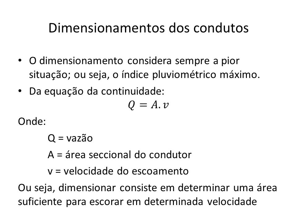 Dimensionamentos dos condutos