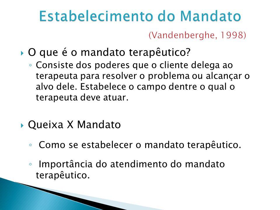 O que é o mandato terapêutico? Consiste dos poderes que o cliente delega ao terapeuta para resolver o problema ou alcançar o alvo dele. Estabelece o c