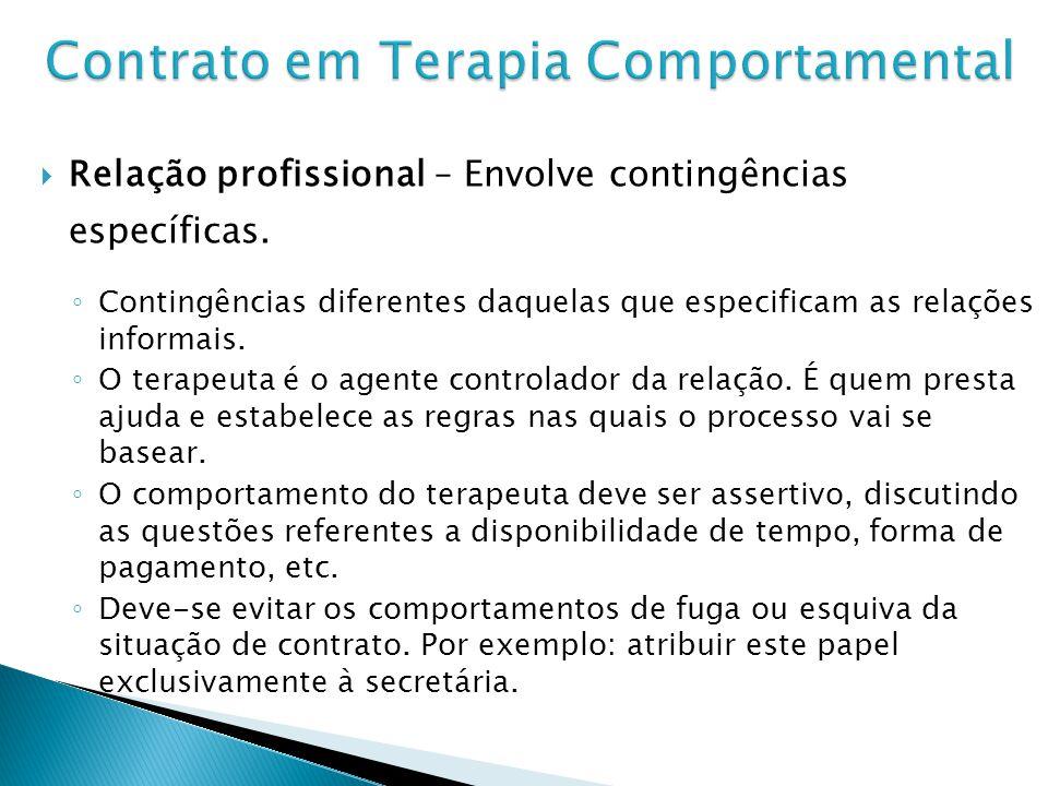 Relação profissional – Envolve contingências específicas.