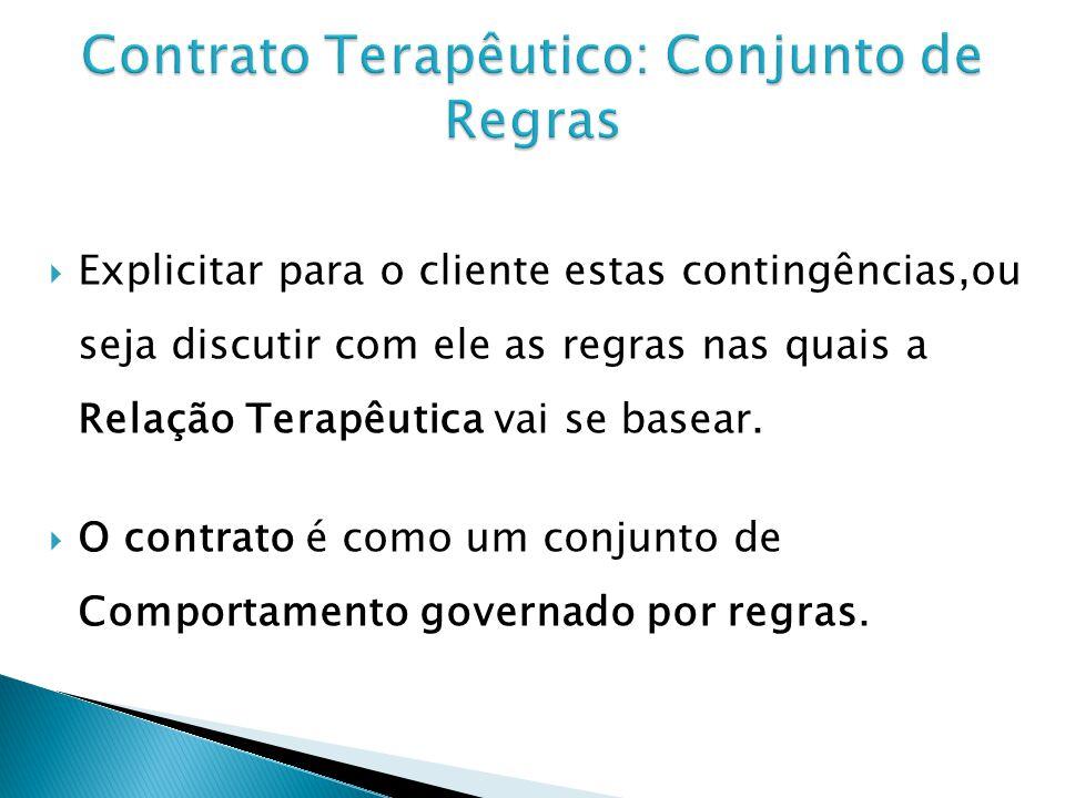 Explicitar para o cliente estas contingências,ou seja discutir com ele as regras nas quais a Relação Terapêutica vai se basear.