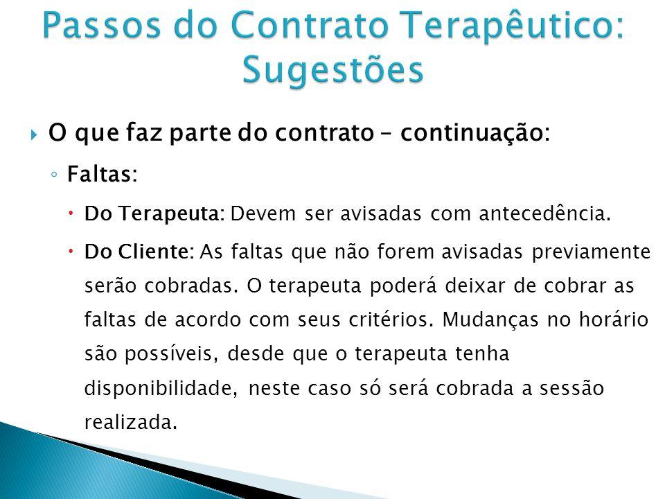 O que faz parte do contrato – continuação: Faltas: Do Terapeuta: Devem ser avisadas com antecedência.
