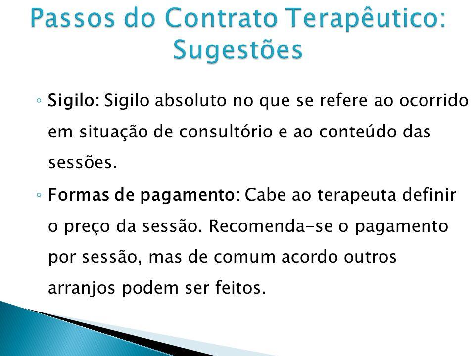 Sigilo: Sigilo absoluto no que se refere ao ocorrido em situação de consultório e ao conteúdo das sessões.