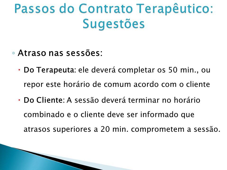 Atraso nas sessões: Do Terapeuta: ele deverá completar os 50 min., ou repor este horário de comum acordo com o cliente Do Cliente: A sessão deverá ter