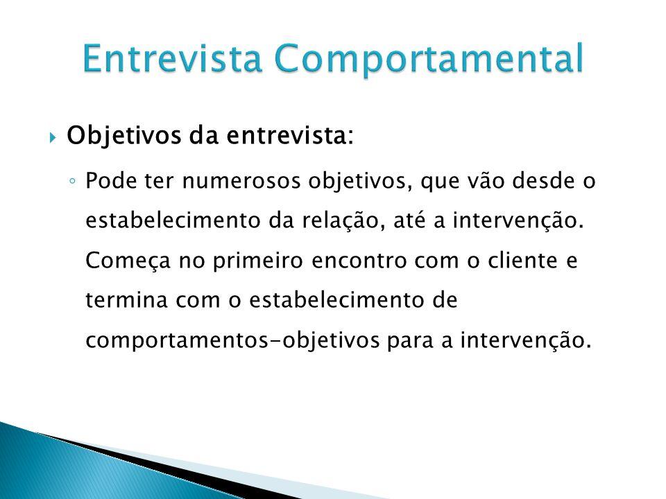 Objetivos da entrevista: Pode ter numerosos objetivos, que vão desde o estabelecimento da relação, até a intervenção.