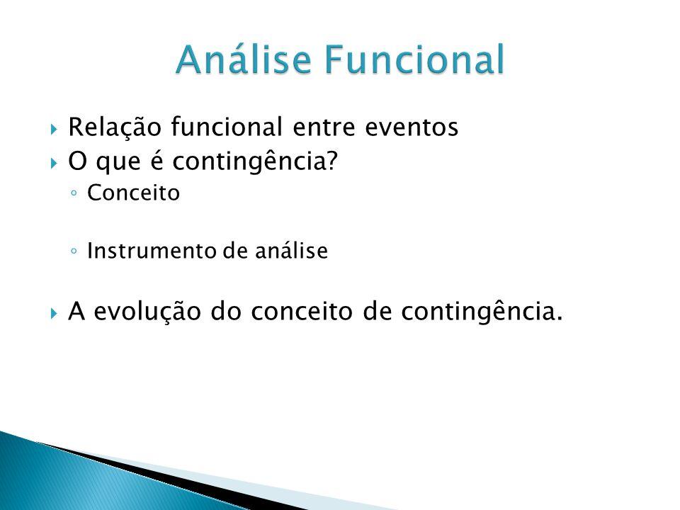Relação funcional entre eventos O que é contingência? Conceito Instrumento de análise A evolução do conceito de contingência.
