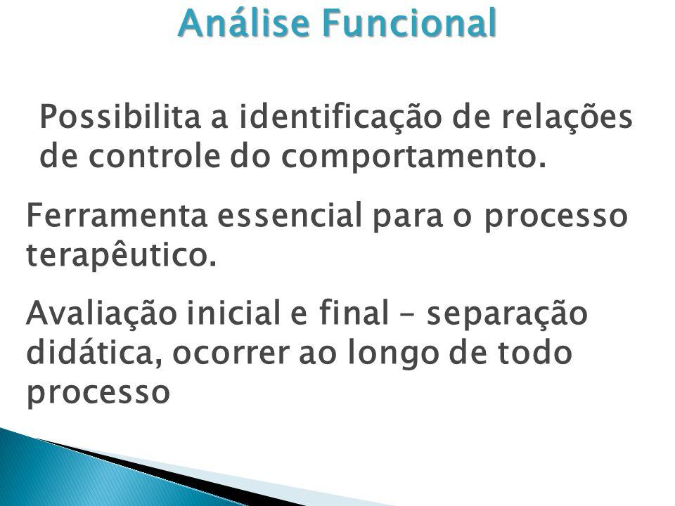 Análise Funcional Possibilita a identificação de relações de controle do comportamento. Ferramenta essencial para o processo terapêutico. Avaliação in