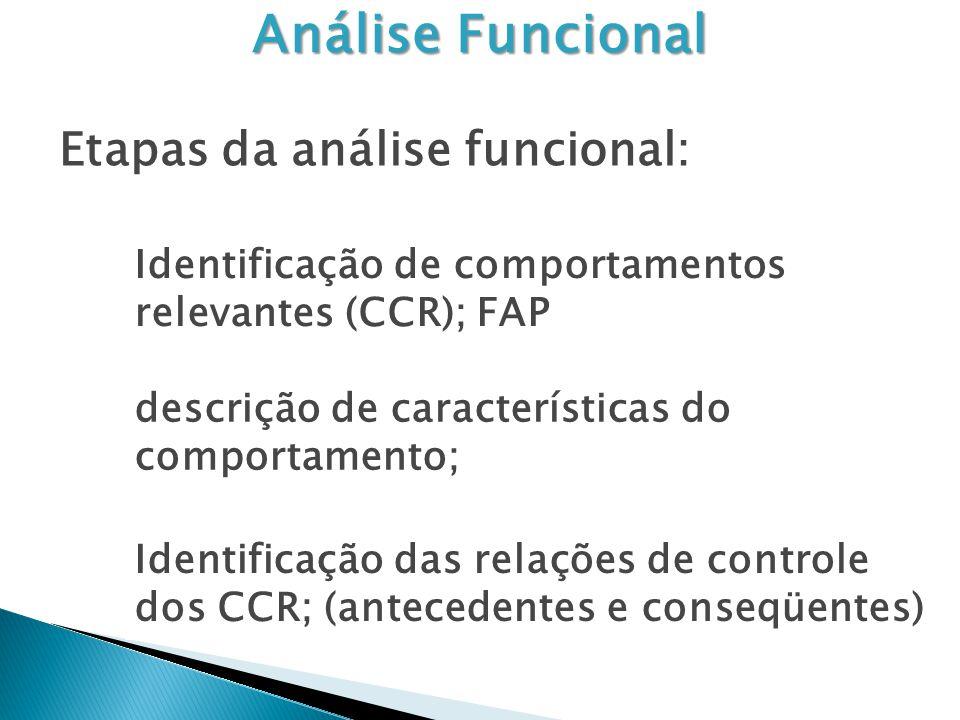 Análise Funcional Etapas da análise funcional: Identificação de comportamentos relevantes (CCR); FAP descrição de características do comportamento; Identificação das relações de controle dos CCR; (antecedentes e conseqüentes)
