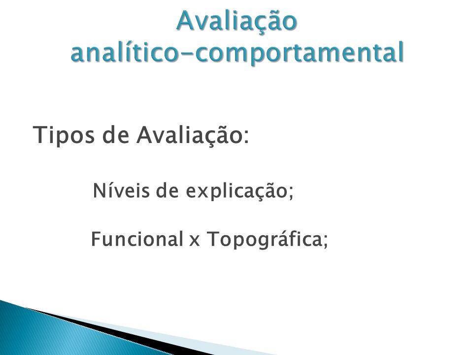 Tipos de Avaliação: Funcional x Topográfica; Níveis de explicação;