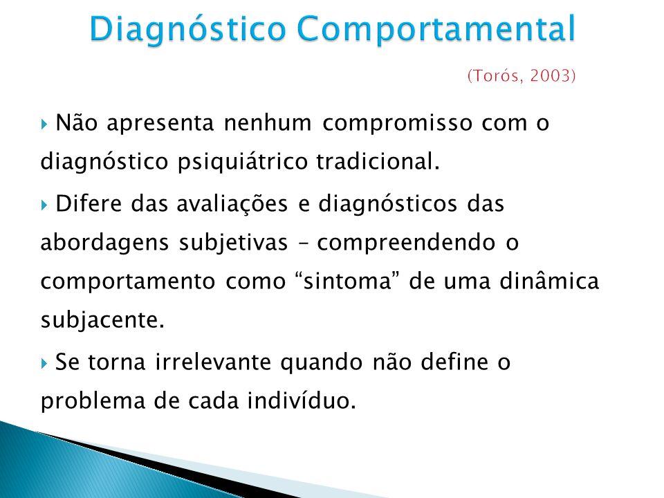Não apresenta nenhum compromisso com o diagnóstico psiquiátrico tradicional. Difere das avaliações e diagnósticos das abordagens subjetivas – compreen