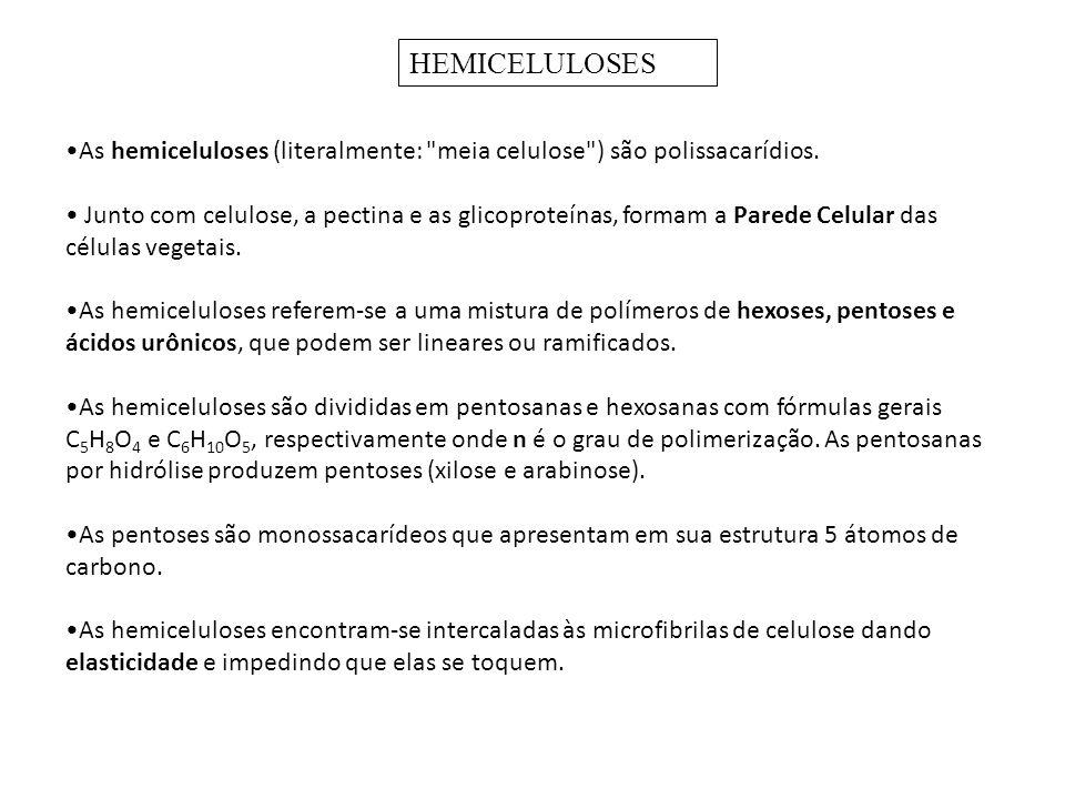 As hemiceluloses (literalmente: meia celulose ) são polissacarídios.