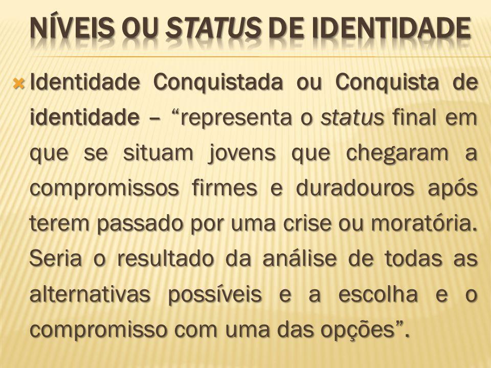 Identidade Conquistada ou Conquista de identidade – representa o status final em que se situam jovens que chegaram a compromissos firmes e duradouros