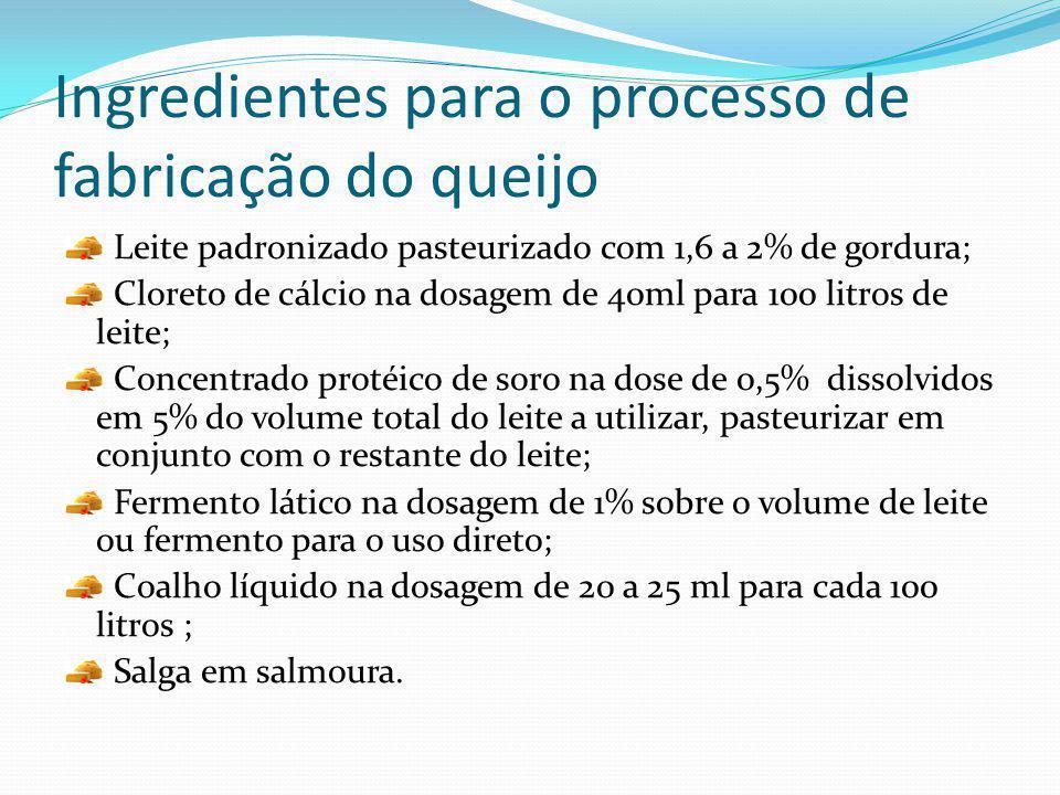 Ingredientes para o processo de fabricação do queijo Leite padronizado pasteurizado com 1,6 a 2% de gordura; Cloreto de cálcio na dosagem de 40ml para