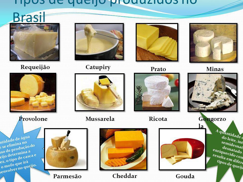 A quantidade de gordura do leite, integral, semidesnatado, desnatado ou enriquecido com nata, resulta em diferentes tipos de queijo. A quantidade de á