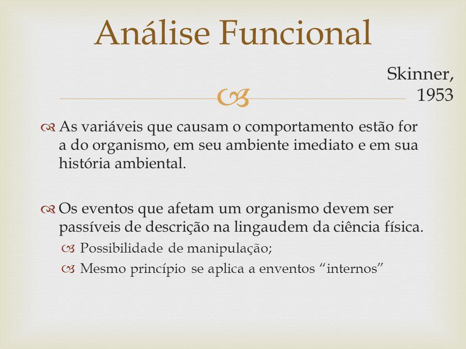 Análise Funcional As variáveis que causam o comportamento estão for a do organismo, em seu ambiente imediato e em sua história ambiental. Os eventos q