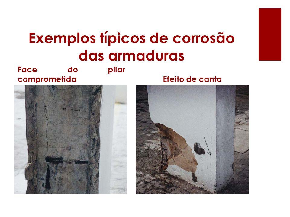 Exemplos típicos de corrosão das armaduras Face do pilar comprometidaEfeito de canto