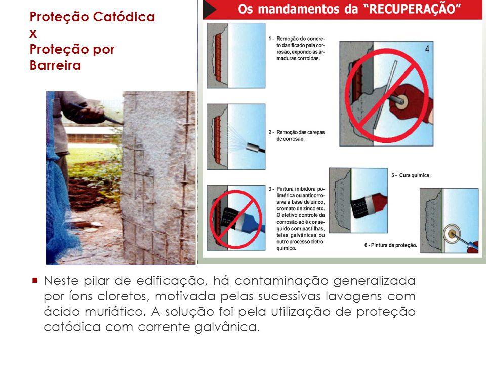 Proteção Catódica x Proteção por Barreira Neste pilar de edificação, há contaminação generalizada por íons cloretos, motivada pelas sucessivas lavagens com ácido muriático.
