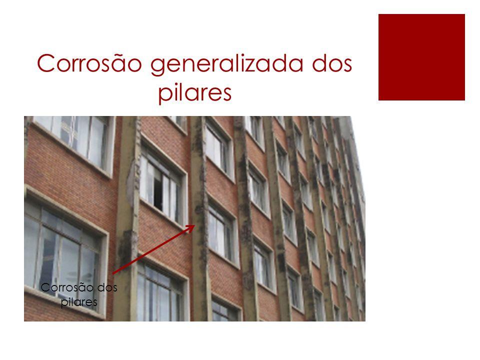 Corrosão generalizada dos pilares Corrosão dos pilares