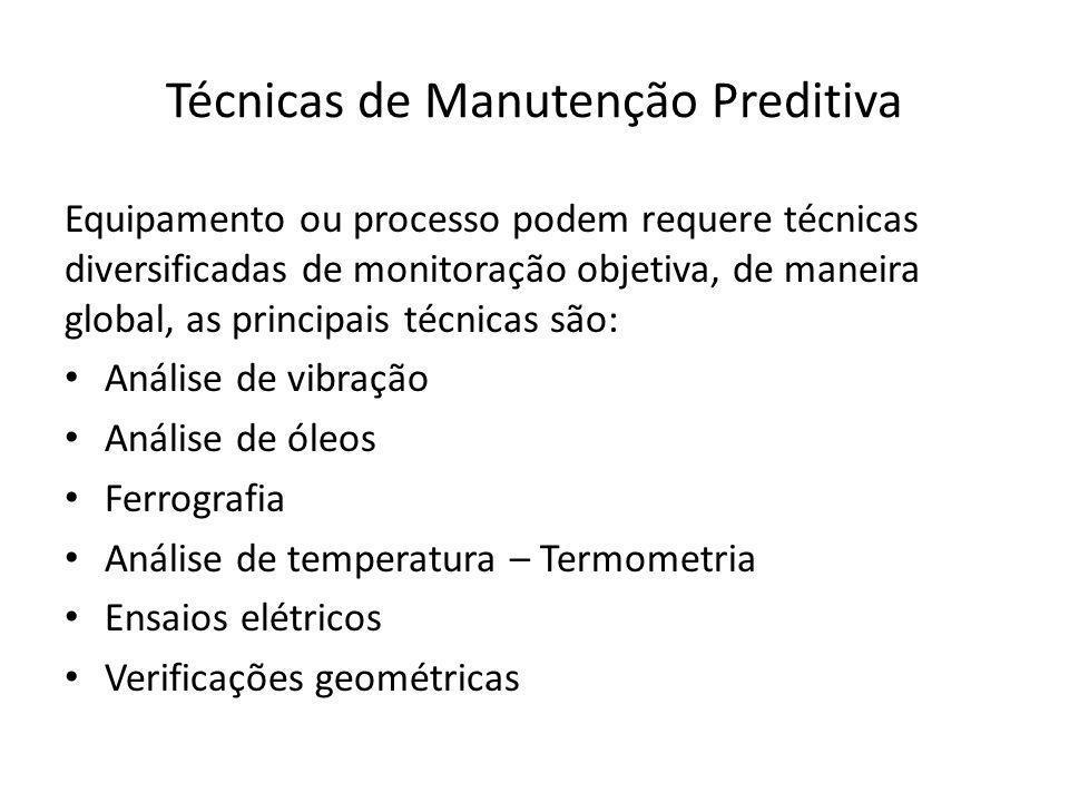 Técnicas de Manutenção Preditiva Equipamento ou processo podem requere técnicas diversificadas de monitoração objetiva, de maneira global, as principa