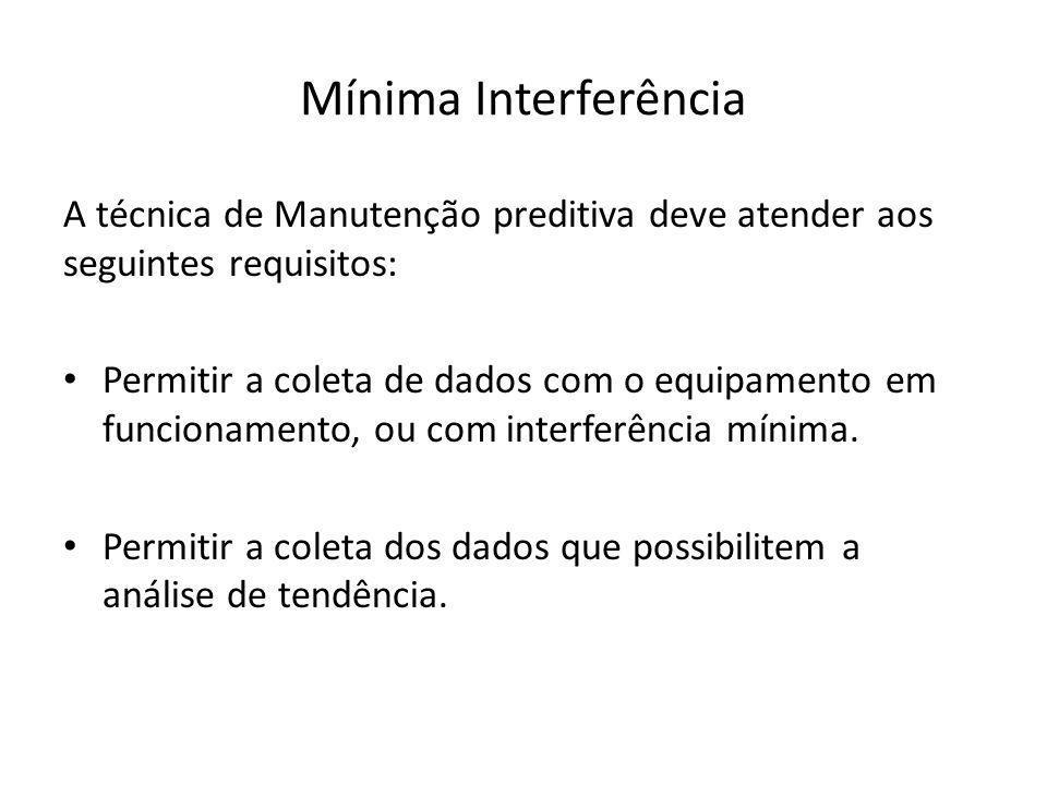 Mínima Interferência A técnica de Manutenção preditiva deve atender aos seguintes requisitos: Permitir a coleta de dados com o equipamento em funciona