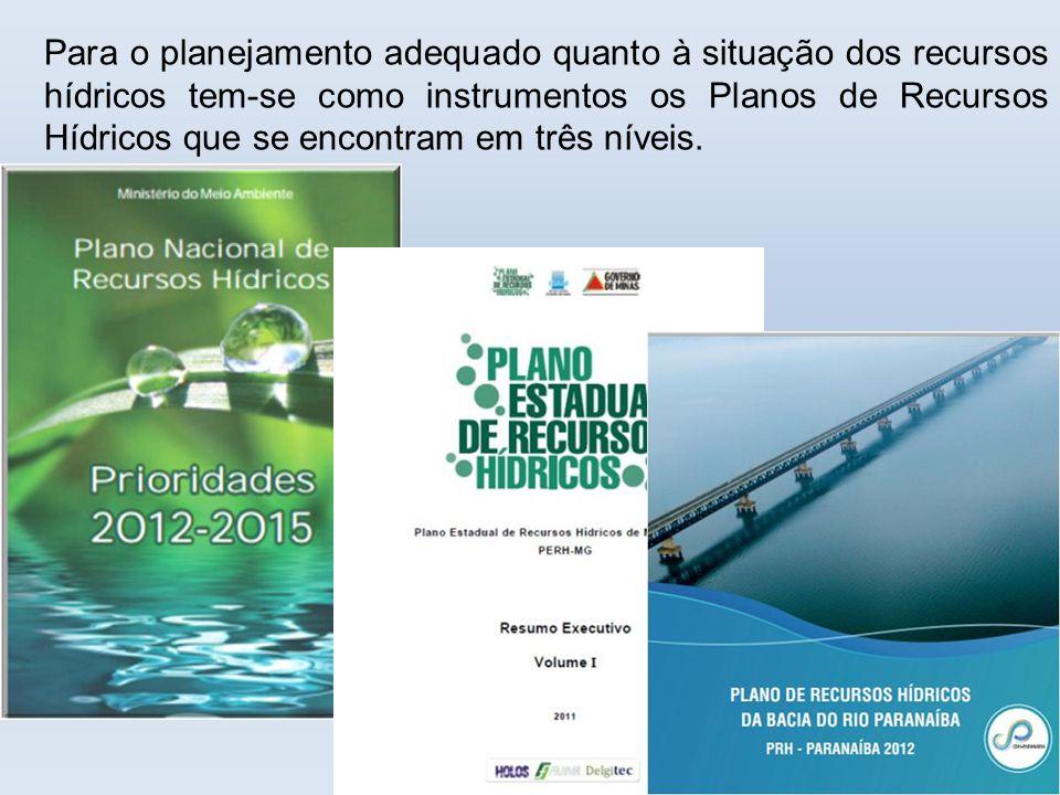 Para o planejamento adequado quanto à situação dos recursos hídricos tem-se como instrumentos os Planos de Recursos Hídricos que se encontram em três