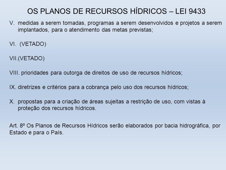 OS PLANOS DE RECURSOS HÍDRICOS – LEI 9433 V.medidas a serem tomadas, programas a serem desenvolvidos e projetos a serem implantados, para o atendiment