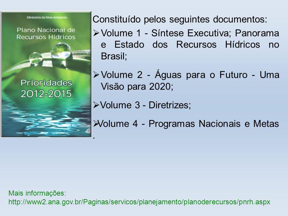 Constituído pelos seguintes documentos: Volume 1 - Síntese Executiva; Panorama e Estado dos Recursos Hídricos no Brasil; Volume 2 - Águas para o Futur