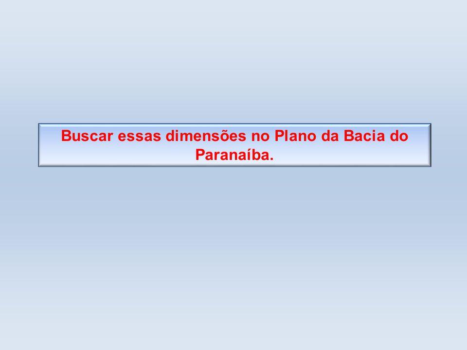 Buscar essas dimensões no Plano da Bacia do Paranaíba.