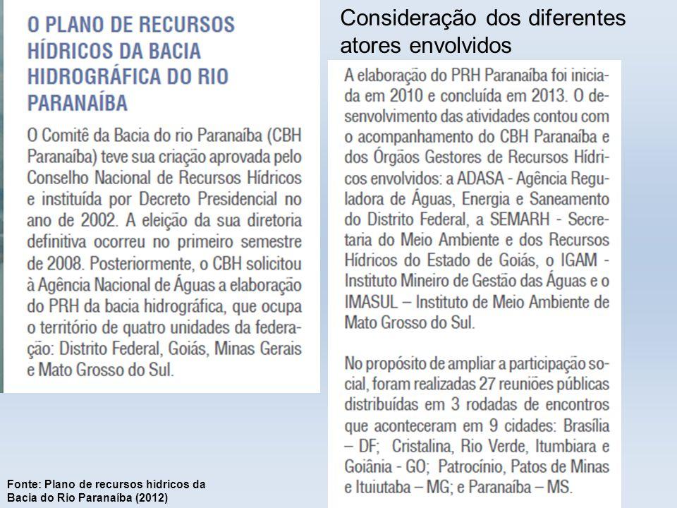Consideração dos diferentes atores envolvidos Fonte: Plano de recursos hídricos da Bacia do Rio Paranaíba (2012)