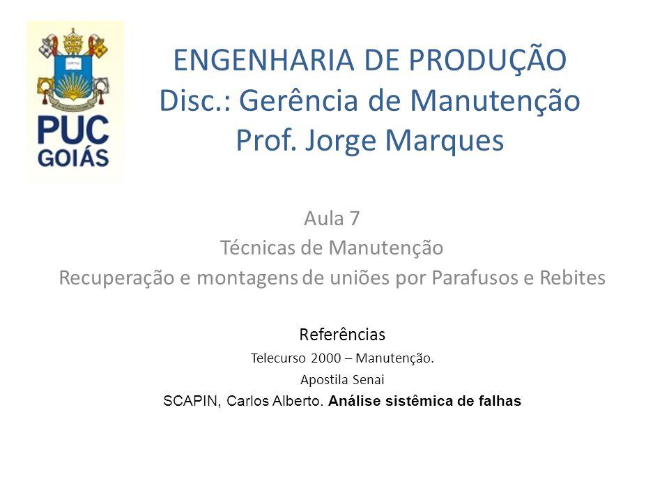 ENGENHARIA DE PRODUÇÃO Disc.: Gerência de Manutenção Prof. Jorge Marques Aula 7 Técnicas de Manutenção Recuperação e montagens de uniões por Parafusos