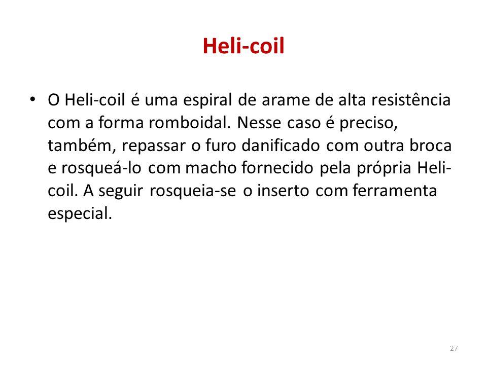 Heli-coil O Heli-coil é uma espiral de arame de alta resistência com a forma romboidal. Nesse caso é preciso, também, repassar o furo danificado com o