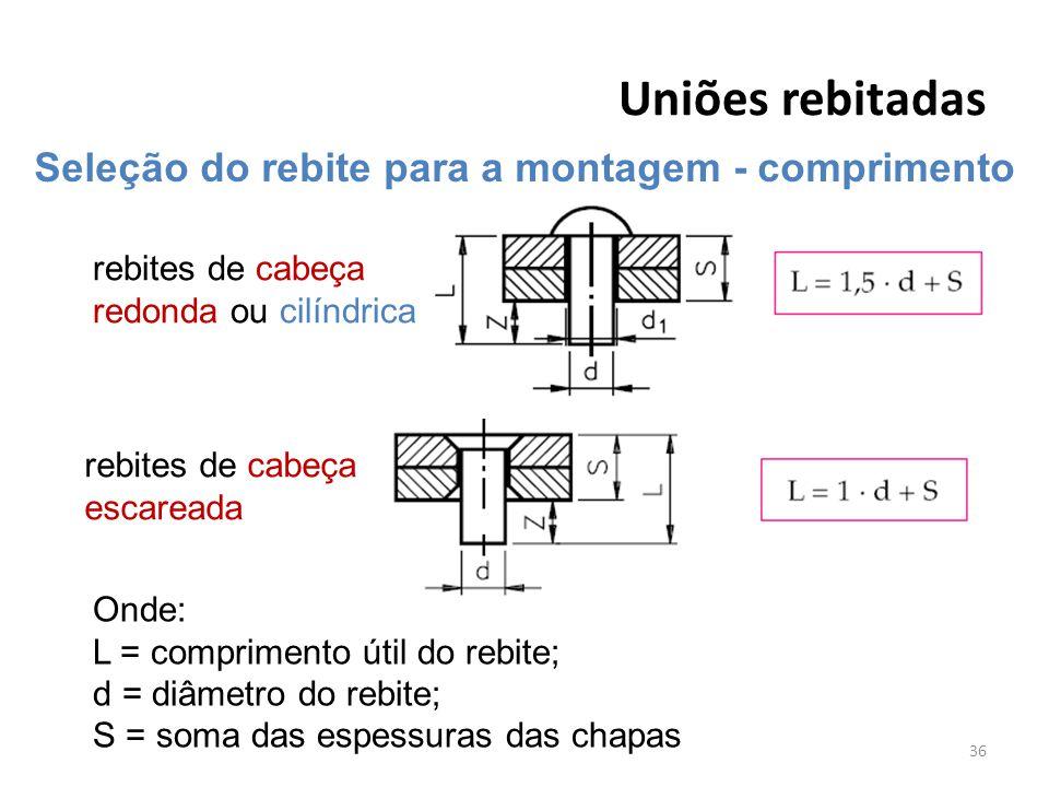 Uniões rebitadas 36 Seleção do rebite para a montagem - comprimento rebites de cabeça redonda ou cilíndrica rebites de cabeça escareada Onde: L = comp