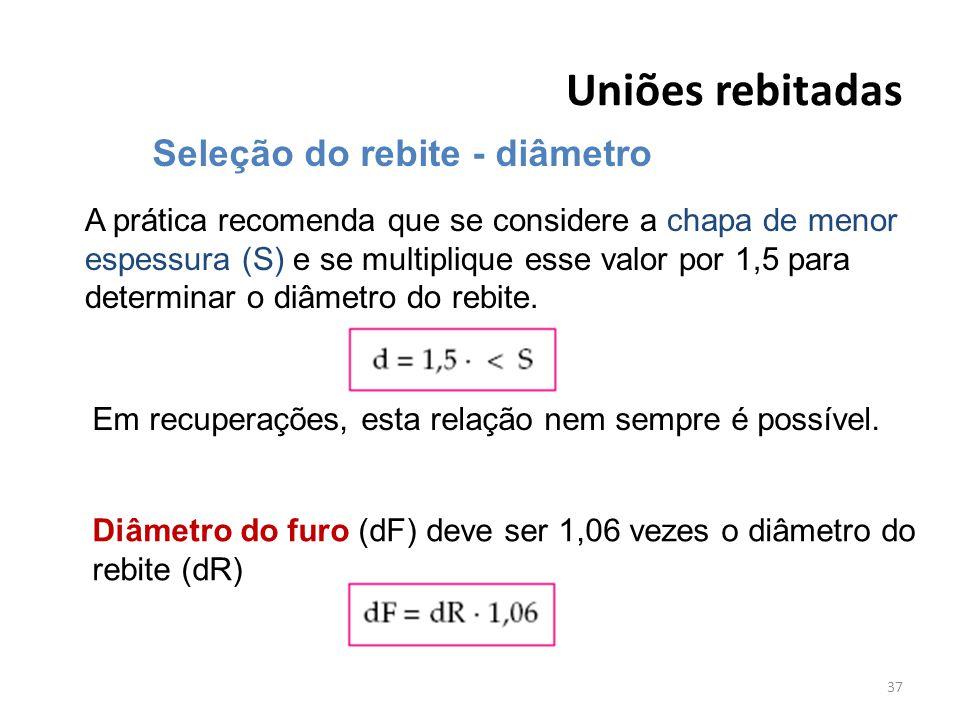 Uniões rebitadas 37 Seleção do rebite - diâmetro A prática recomenda que se considere a chapa de menor espessura (S) e se multiplique esse valor por 1