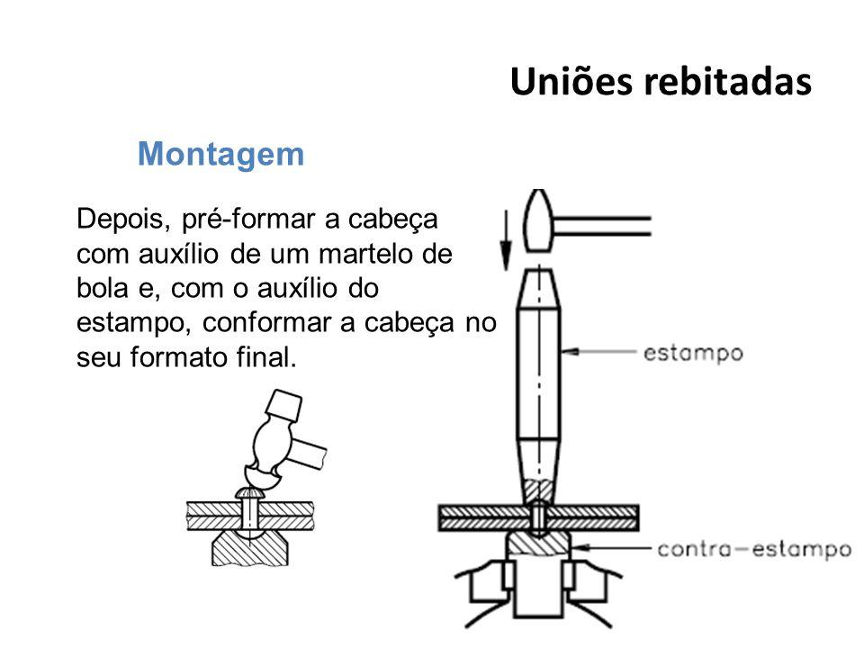 Uniões rebitadas 39 Montagem Depois, pré-formar a cabeça com auxílio de um martelo de bola e, com o auxílio do estampo, conformar a cabeça no seu form