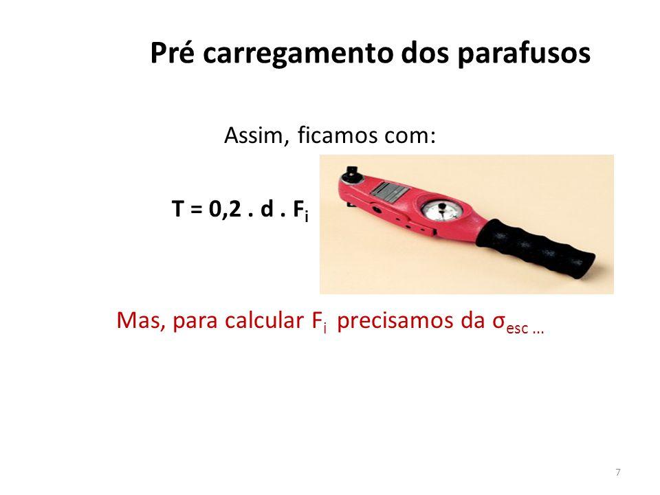 Pré carregamento dos parafusos Assim, ficamos com: T = 0,2. d. F i Mas, para calcular F i precisamos da σ esc... 7