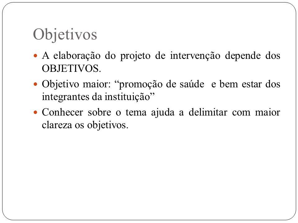Objetivos A elaboração do projeto de intervenção depende dos OBJETIVOS. Objetivo maior: promoção de saúde e bem estar dos integrantes da instituição C