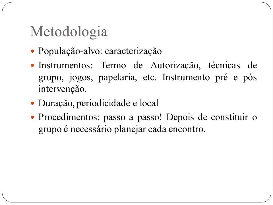 Metodologia População-alvo: caracterização Instrumentos: Termo de Autorização, técnicas de grupo, jogos, papelaria, etc. Instrumento pré e pós interve