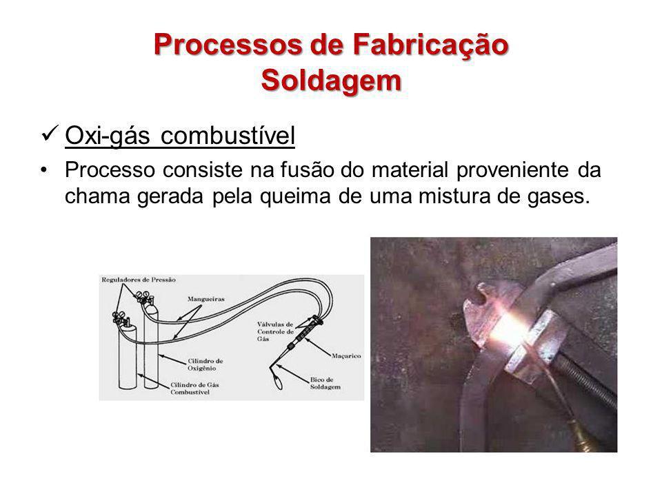 Processos de Fabricação Soldagem Oxi-gás combustível Processo consiste na fusão do material proveniente da chama gerada pela queima de uma mistura de gases.