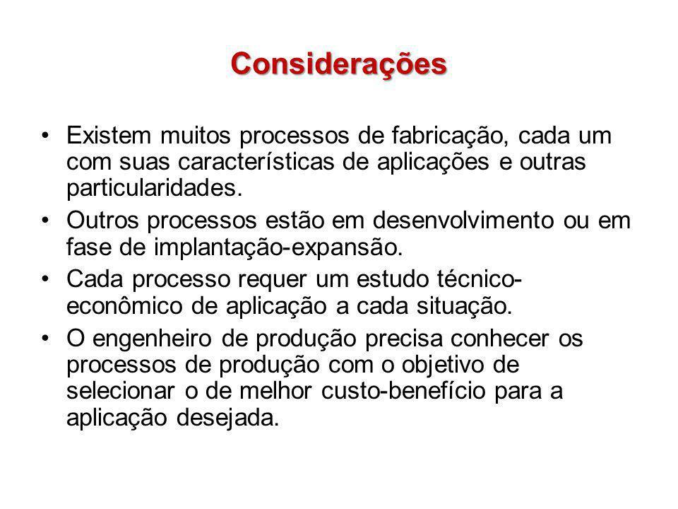 Considerações Existem muitos processos de fabricação, cada um com suas características de aplicações e outras particularidades. Outros processos estão