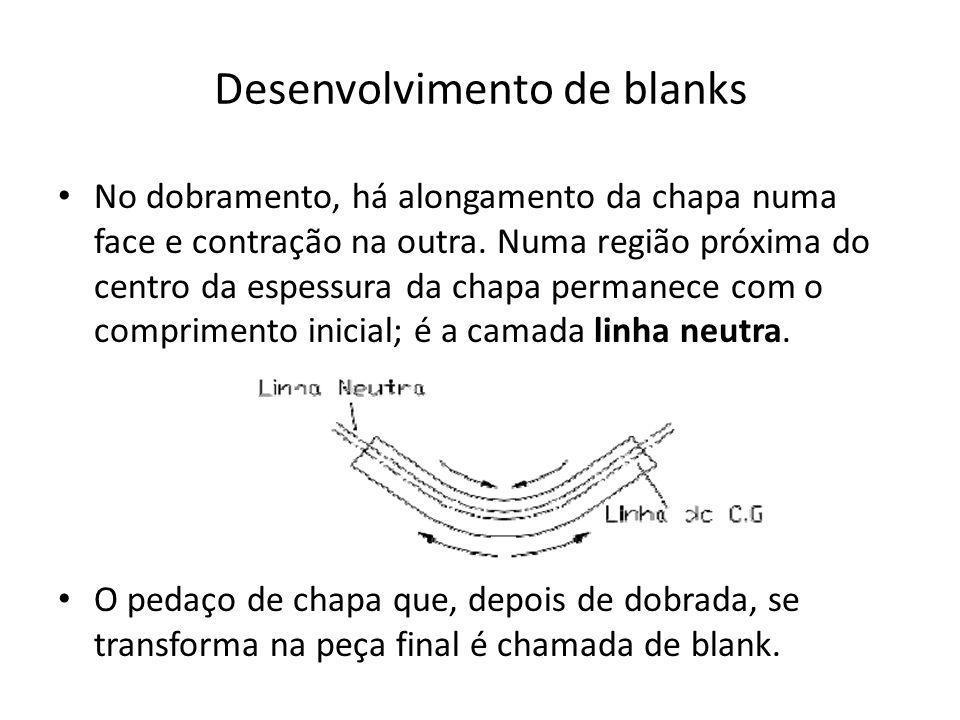 Desenvolvimento de blanks No dobramento, há alongamento da chapa numa face e contração na outra. Numa região próxima do centro da espessura da chapa p