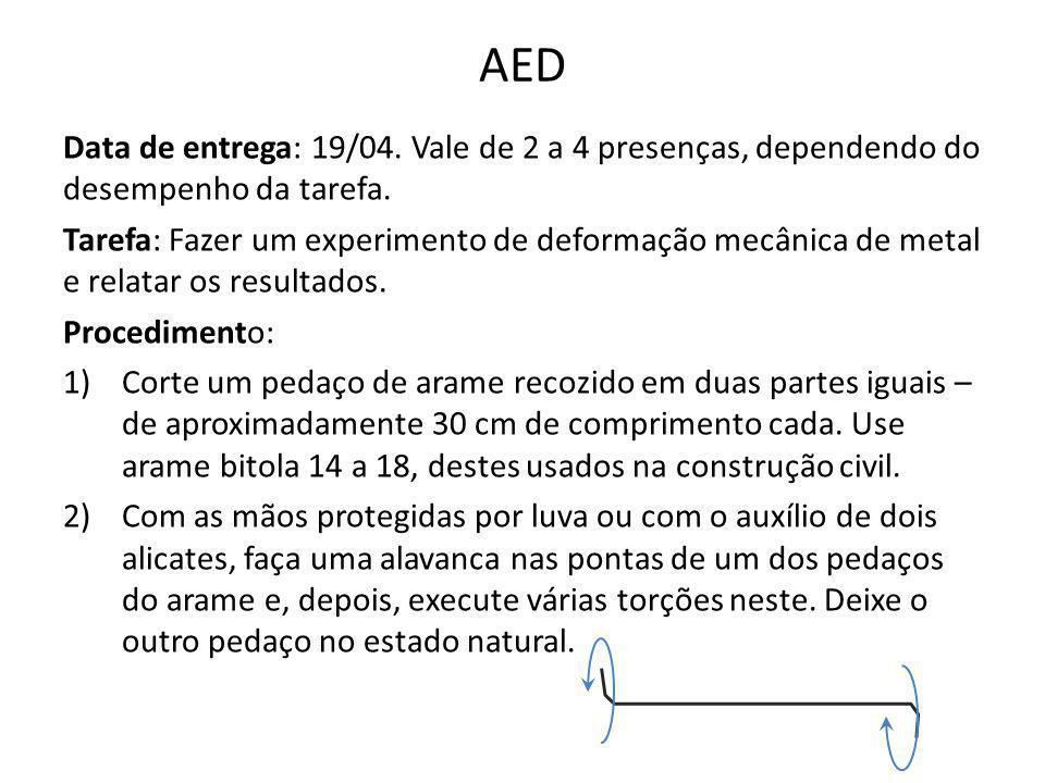AED Data de entrega: 19/04. Vale de 2 a 4 presenças, dependendo do desempenho da tarefa. Tarefa: Fazer um experimento de deformação mecânica de metal