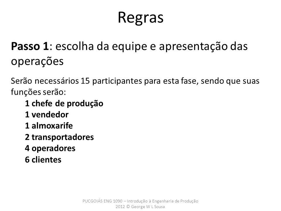 Regras Passo 1: escolha da equipe e apresentação das operações Serão necessários 15 participantes para esta fase, sendo que suas funções serão: 1 chef