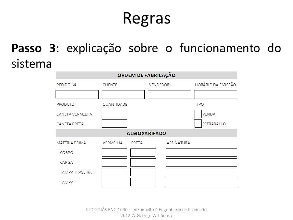 Regras Passo 3: explicação sobre o funcionamento do sistema PUCGOIÁS ENG 1090 – Introdução à Engenharia de Produção 2012 © George W L Sousa