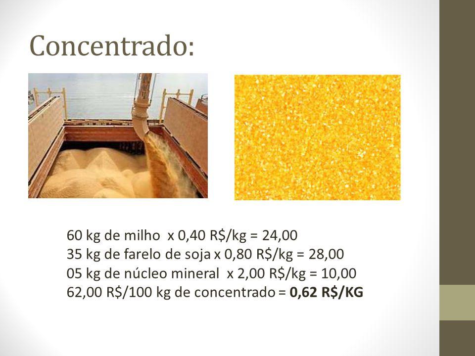 Concentrado: 60 kg de milho x 0,40 R$/kg = 24,00 35 kg de farelo de soja x 0,80 R$/kg = 28,00 05 kg de núcleo mineral x 2,00 R$/kg = 10,00 62,00 R$/10
