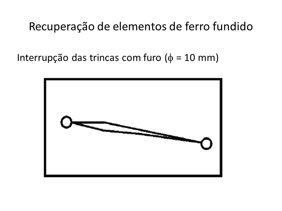 Recuperação de elementos de ferro fundido Interrupção das trincas com furo ( = 10 mm)