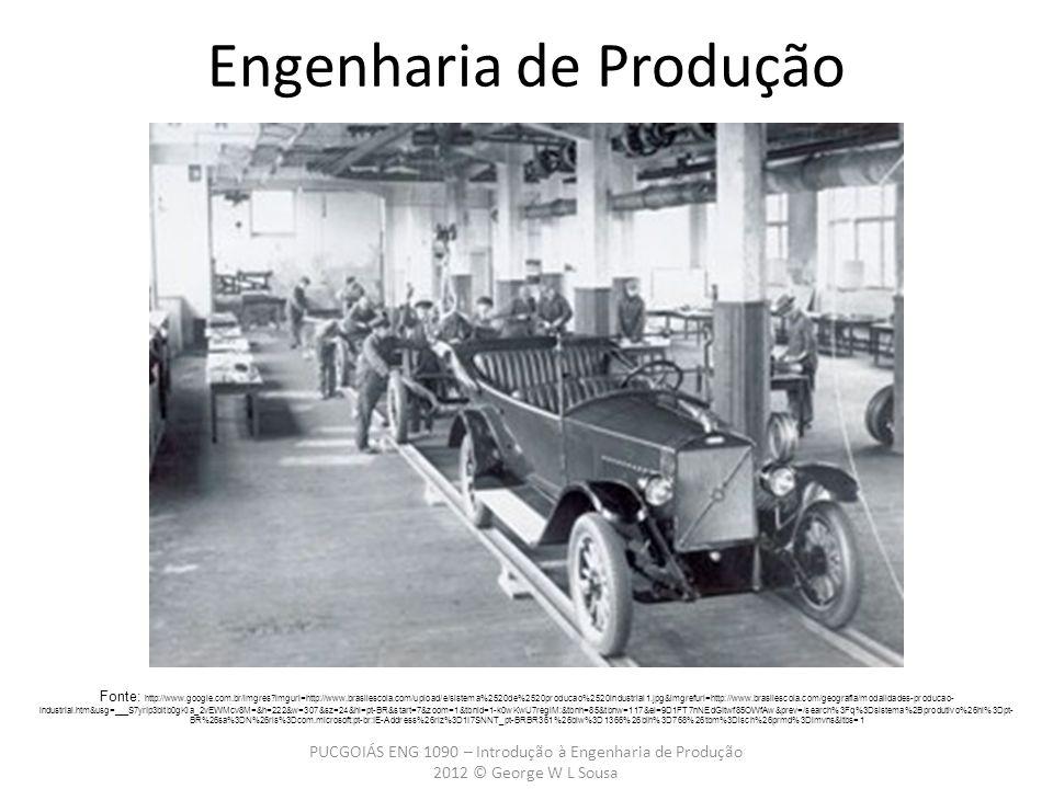 PUCGOIÁS ENG 1090 – Introdução à Engenharia de Produção 2012 © George W L Sousa Engenharia de Produção Fonte: http://www.google.com.br/imgres imgurl=http://www.brasilescola.com/upload/e/sistema%2520de%2520producao%2520industrial1.jpg&imgrefurl=http://www.brasilescola.com/geografia/modalidades-producao- industrial.htm&usg=___S7yrIp3bltb0gKia_2vEWMcv8M=&h=222&w=307&sz=24&hl=pt-BR&start=7&zoom=1&tbnid=1-k0wKwU7regiM:&tbnh=85&tbnw=117&ei=9D1FT7nNEdGItwf85OWfAw&prev=/search%3Fq%3Dsistema%2Bprodutivo%26hl%3Dpt- BR%26sa%3DN%26rls%3Dcom.microsoft:pt-br:IE-Address%26rlz%3D1I7SNNT_pt-BRBR361%26biw%3D1366%26bih%3D768%26tbm%3Disch%26prmd%3Dimvns&itbs=1