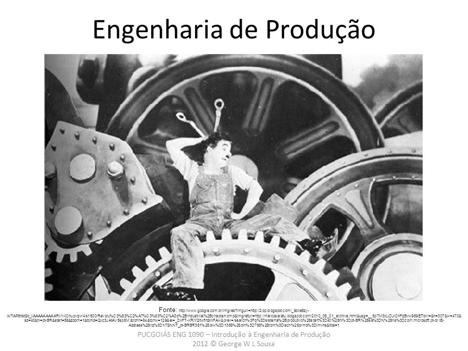 PUCGOIÁS ENG 1090 – Introdução à Engenharia de Produção 2012 © George W L Sousa Engenharia de Produção Fonte: http://www.google.com.br/imgres imgurl=http://2.bp.blogspot.com/_9ciie5zy- Ik/TAP5nstSb_I/AAAAAAAAARI/1KCnupvqvr4/s1600/Revolu%C3%83%C2%A7%C3%83%C2%A3o%2BIndustriial%2Bchaplen.bmp&imgrefurl=http://marcosaratu.blogspot.com/2010_05_01_archive.html&usg=__6p7M3icJDJiChFzBvw969ETblrI=&h=307&w=470& sz=40&hl=pt-BR&start=58&zoom=1&tbnid=Qxc3JAtAV5sp6M:&tbnh=84&tbnw=129&ei=_DxFT-KRIY2ltwfrtdWFAw&prev=/search%3Fq%3Dsistema%2Bprodutivo%26start%3D40%26hl%3Dpt-BR%26sa%3DN%26rls%3Dcom.microsoft:pt-br:IE- Address%26rlz%3D1I7SNNT_pt-BRBR361%26biw%3D1366%26bih%3D768%26tbm%3Disch%26prmd%3Dimvns&itbs=1