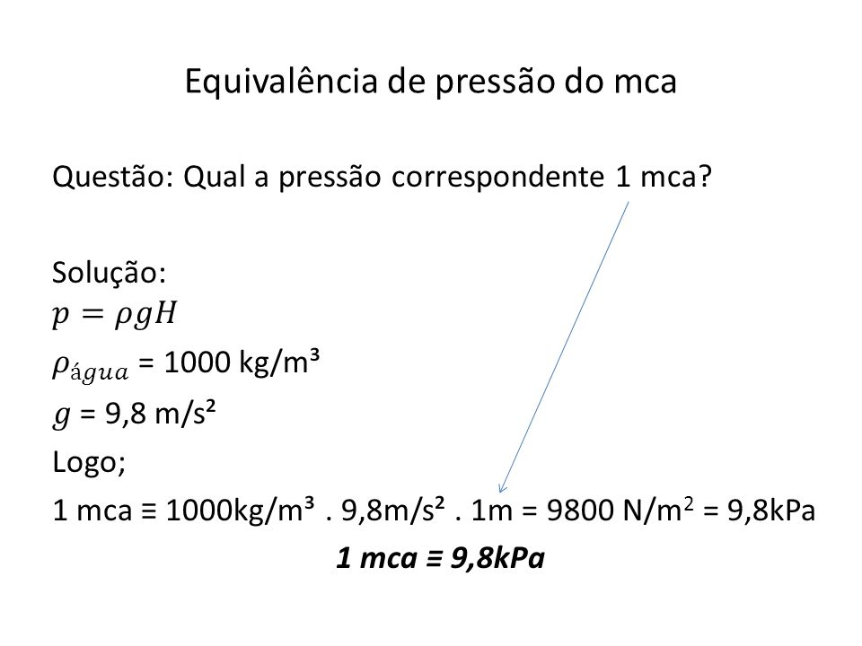 Equivalência de pressão do mca