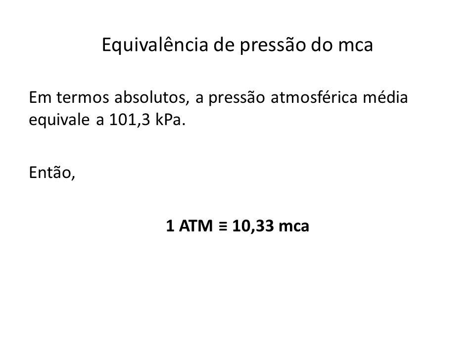 Em termos absolutos, a pressão atmosférica média equivale a 101,3 kPa. Então, 1 ATM 10,33 mca
