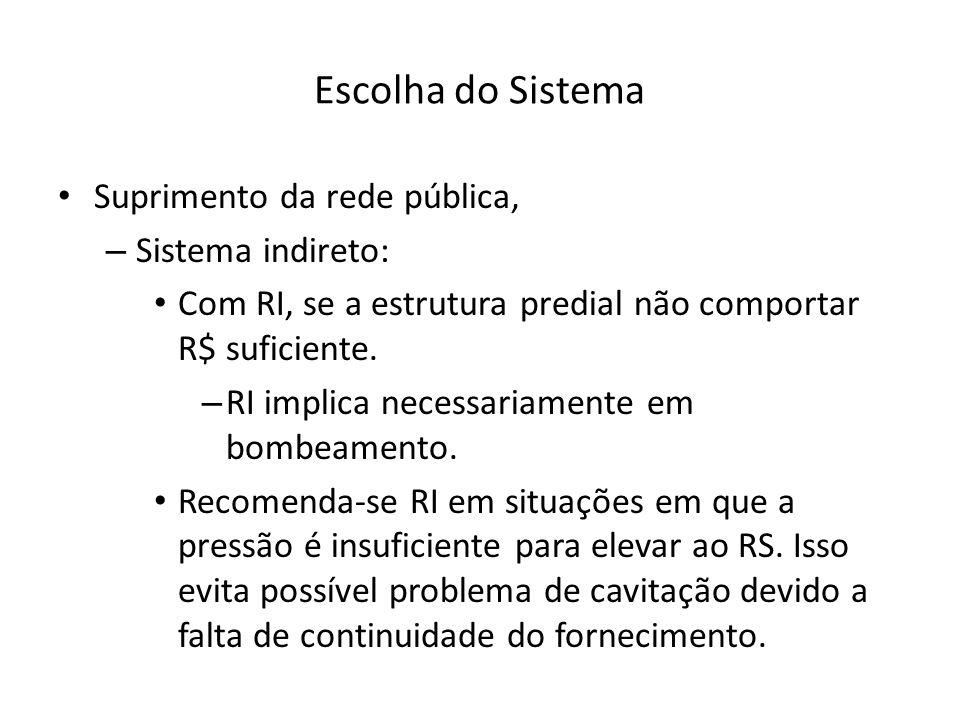 Escolha do Sistema Suprimento da rede pública, – Sistema indireto: Com RI, se a estrutura predial não comportar R$ suficiente. – RI implica necessaria