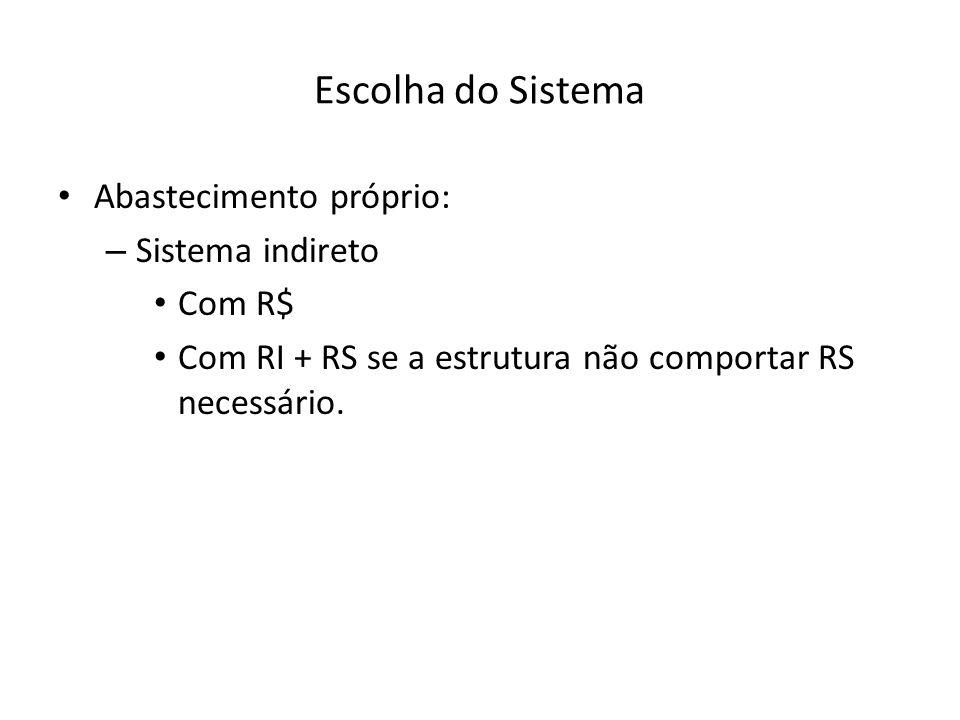 Escolha do Sistema Abastecimento próprio: – Sistema indireto Com R$ Com RI + RS se a estrutura não comportar RS necessário.